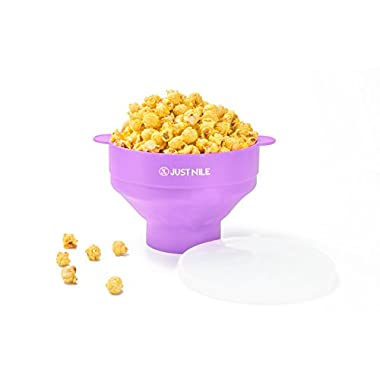 JustNile Collapsible Microwave Popcorn Popper with Bonus Recipe Book, Silicone Popcorn Maker for Healthy, Irresistible, Homemade Popcorn on Movie Night, or Any Night, 100% Free of BPA and PVC - Purple