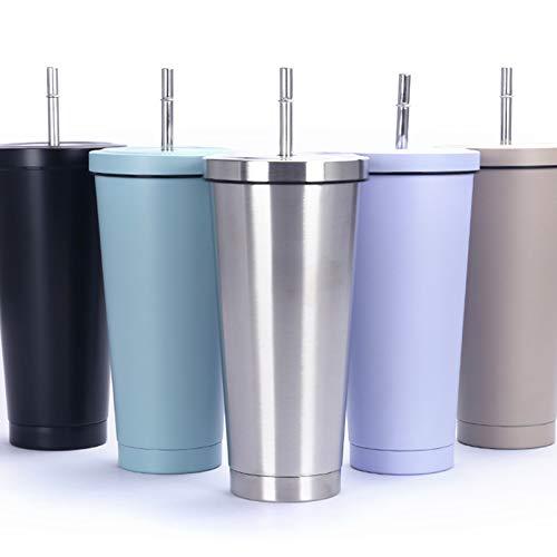 Malidily 750ml/25oz Taza de Viaje de Acero Inoxidable, Taza Aislada al Vacio para Bebidas Frias o Calientes, Vaso Termico con Tapa y Pajita