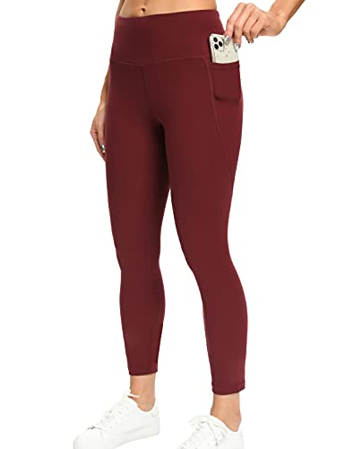MIKGR Yoga Pants for Women with Deep Pockets High Waisted Tummy Control Workout Sports Running Leggings for Women (Wine, Large)