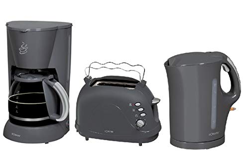 Bomann Frühstücksset 1,7 Liter Wasserkocher + 1,5 L Kaffeemaschine + 2-Scheiben Toaster Grau