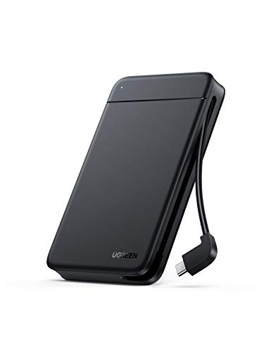 UGREEN Festplattengehäuse Versteckbarem Kabel USB C Externes Festplatten bis zu 5Gbps Gehäuse für 2,5 Zoll SSD und HDD in Höhe 9.5mm 7mm UASP Festplatten, werkzeuglose Montage