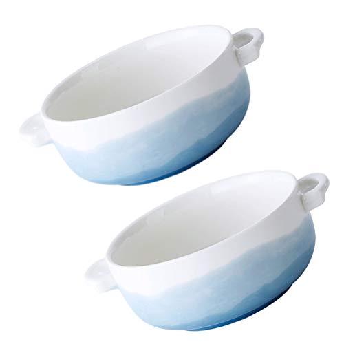 Hemoton Cuencos de cerámica para hornear, cazuela de horno, sopa de cebolla francesa, sopa de criolla, tazones de sopa, utensilios para hornear con asa, cuenco redondo seguro para hornear 2 piezas