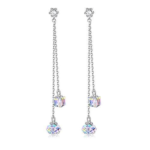 Sllaiss Pendientes colgantes de cristal austriaco de plata de ley 925 para mujer, pendientes largos colgantes de cristal aurora boreal