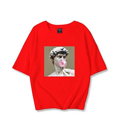 LXHcool David de Michelangelo Famoso Cuadro de impresión Estatua Mujeres de la Camiseta 2020 (Color : Red, Size : XXL)