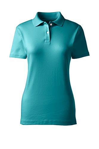 Lands' End School Uniform Women's Short Sleeve Feminine Fit Interlock Polo Shirt Small Teal Breeze
