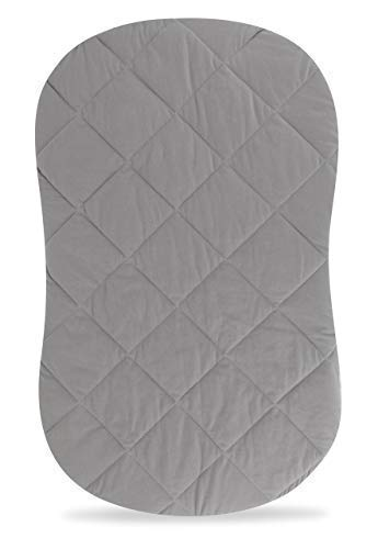 Jersey Cotton Quilted Waterproof Hourglass Sheet, All in one Bassinet Sheet with Mattress Pad Cover Protection by Ely's & Co. (Grey)