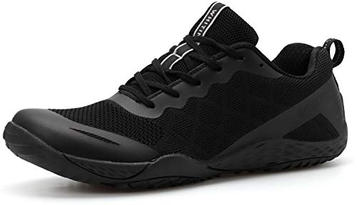 WHITIN Women's Minimalist Barefoot Shoes Low Zero Drop Trail Running Camping Size 8.5 Wide Toe Box for Female Lady Fitness Gym Workout Sneaker Tennis Flat Comfortable Treadmill Black 39