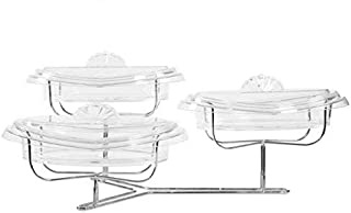 Adorn Home Crystal Clear 3 Tier Serving Platter With Lids | Display Stand | Condiment Dish Rack Set | Tiered serving Platter | Serving Best for Dessert, Apps, Fruit, Veggies and More!