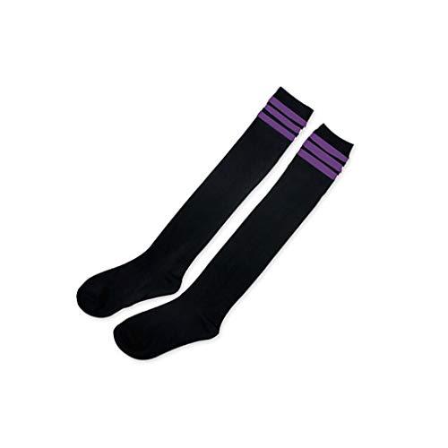 iYmitz 1 Paar Mädchen Oberschenkel Overknee Hohe Kniestrümpfe Frauen Neu Hold-up-Strümpfe Überknie Socken(Violett,Free size)