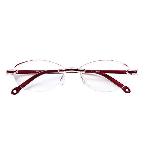 人気のふちなしタイプ フレームレスがお洒落な老眼鏡 オーバル ブルーライト35%カット[PrePiar](レッド,+2.0)
