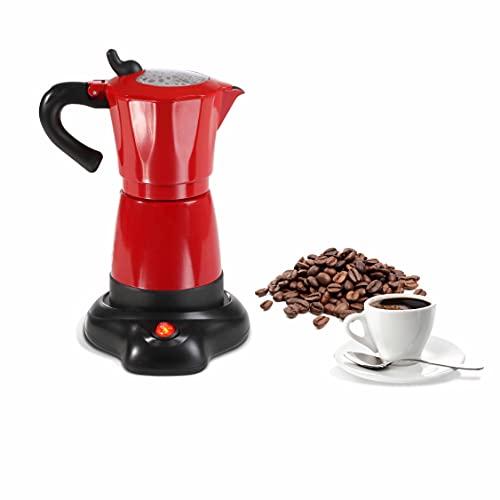 Cafetière à expresso électrique 300 ml en aluminium rouge (cafetière moka, sans fil, fonction maintien au chaud, machine à expresso, machine à café, 480 W)