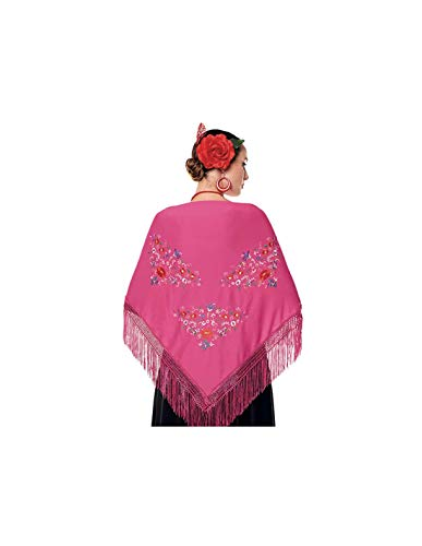 Mantón Manila Chulapa Mujer【Talla Adulto 150 x 60 cm 】[Color Fucsia] Disfraz Chulapas Mantón Flamenco Bordado San Isidro