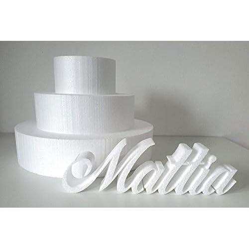 FoamArt - BASI IN POLISTIROLO PER TORTE kit 3 pezzi rotondo, ideali per gomme crepla eva, Fommy, cake design, torta finta h 5-8 - 15 cm - diametro Ø 35-25-15 cm dummy cake