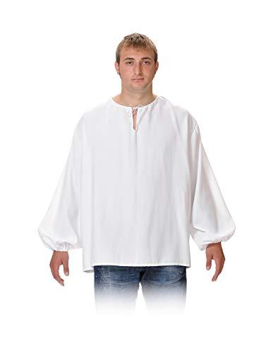 DISBACANAL Camisas Medievales de mesonero - Blanco, Adulto