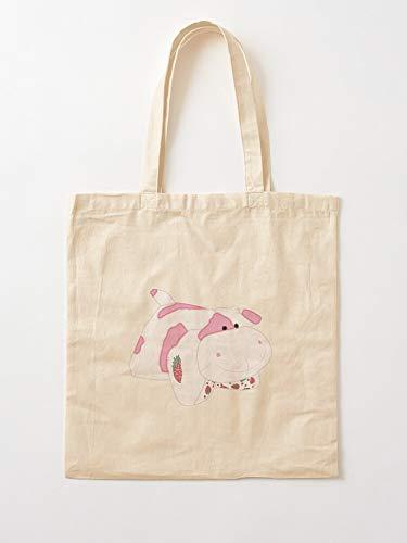 Strawberry Cute Trendy Strawberrycow Animal Cow Pink Cowprint | Bolsas de lona con asas de algodón duradero