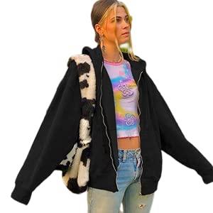 Kookmean Sudaderas con cremallera para mujer, ropa de otoño gráfico Y2k sudadera abrigo E-Girl Pullover Streetwear Shirts, Black1, L