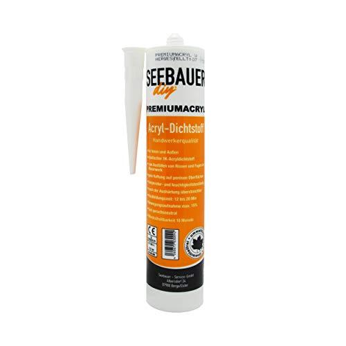 SEEBAUER diy® Premium-Acryl-Dichtstoff weiß 300 ml | Maleracryl mit Handwerkerqualität | Überstreichbar & Feuchtigkeitsbeständig | Lösemittelfrei & Umweltfreundlich | Für Innen und Außen (1 Stück)