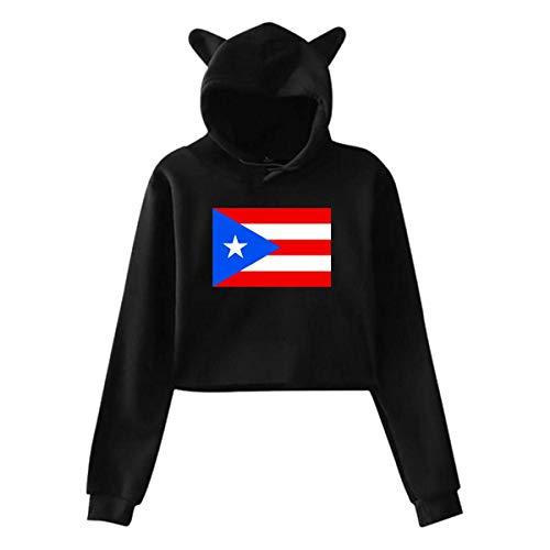 XCNGG Mujeres Adolescentes niñas Gato Oreja/Unicornio pulóver Sudadera con Capucha Bandera de Puerto Rico Manga Larga Crop Top Sudaderas con Capucha