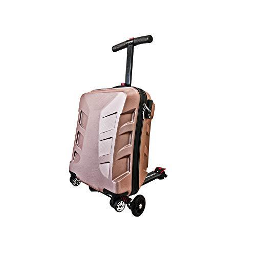 旅先や仕事、空港や駅で急ぎたい時!キャリーケースがキックボードに大変身!【SUITCASE SCOOTER:スーツケース・スクータ:ゴールドピンク】