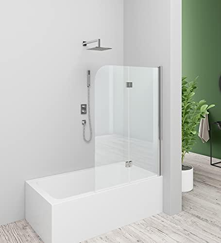 Baode 120 cm Breite Duschtrennwand für Badewanne,Flügel-Falttür. 6mm ESG NANO Glas, Höhe 140cm Badewannenaufsatz