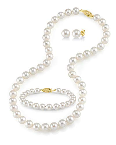7-8mm Freshwater Cultured Pearl Necklace Set for Women Includes Bracelet and Stud Earrings with 14K Gold - THE PEARL SOURCE
