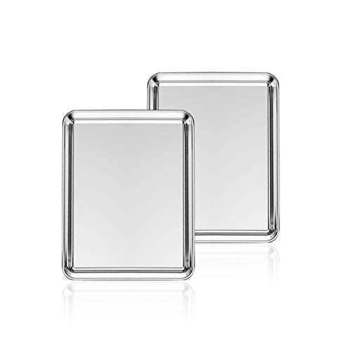 Stainless Steel Baking Sheet Set of 2, Deedro Cookie Sheet Metal Baking Pan Oven Tray, Non Toxic & Heavy Duty, Rust Free & Mirror Finish, Easy Clean & Dishwasher Safe, 10 x 8 x 1 Inch