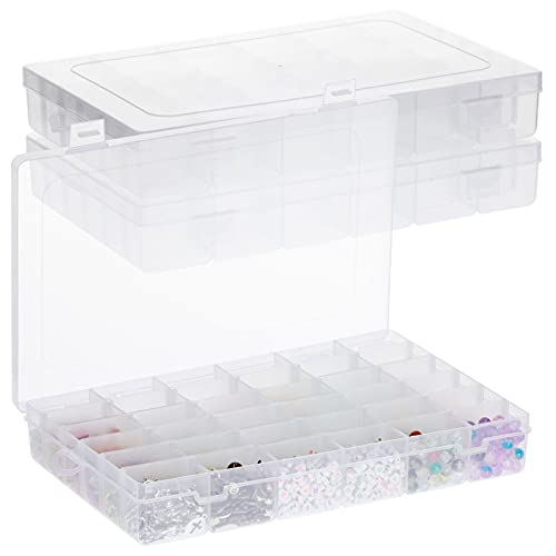 Jewelry Organizer Box for Earrings Storage, Clear Plastic with 36 Small Compartment Tray (3 Pack)