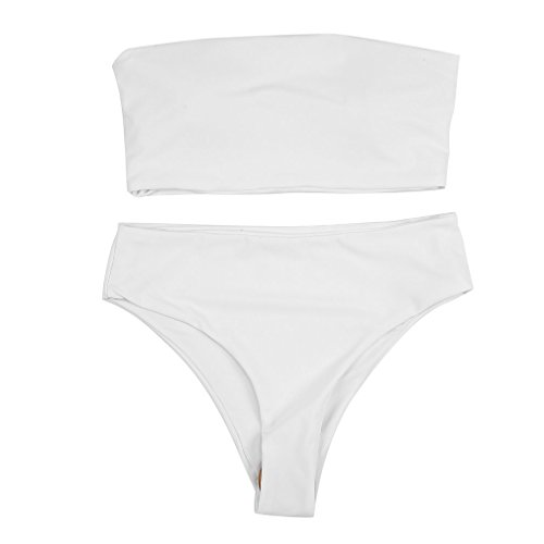 Frauen Cropped Top Low Waist Cut 2PCS Bikini Set Badeanzug Beachwear Badeanzug Mit Pad Einfarbig Sport Sexy Lady White, L. Uniquelove