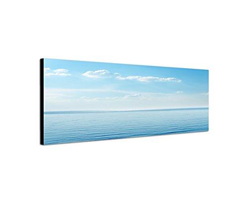 Quadro da parete su tela come Panorama in 120x 40cm Mare Cielo Nuvole orizzonte