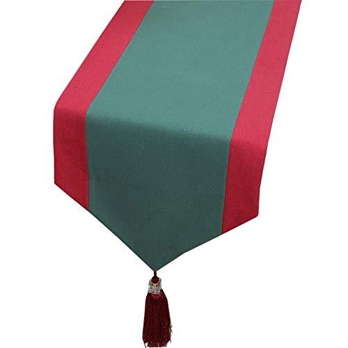 Chemin de Table de Couleur de Couture, Coton de Lin, pour Les Mariages (Couleur : Vert, Taille : 33X200CM)