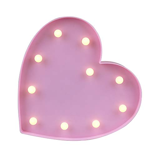 "Pooqla Light up Pink Heart Sign Marquee Night Light Kids Light Wedding Light LED Plastic Light up Heart Shape Love Sign Battery Operated 10"" Height"