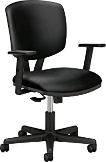 HON HON5703ASB11 Volt Task Chair   Synchro-Tilt, Tension, Lock   Adjustable Arms   Black SofThread Leather, Upholstered Back