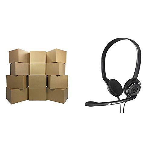 "UBOXES Moving Boxes, Large 20 x 20 x 15 Inches (Bundle of 12) Boxes for Moving & Medium Moving Boxes 18"" x 14"" x 12"" Bundle of 20. Best Choice. Bundle Includes Twenty Boxes"