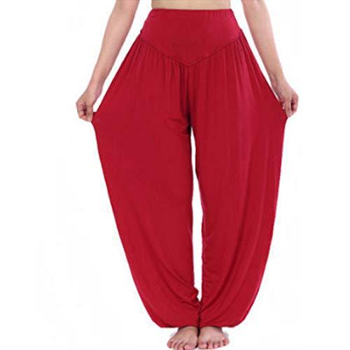 Aiweijia Pantalones Anchos de Mujer Pantalones de harén Pantalones de Linterna de Yoga Modal Pantalones de Moda Informal Yoga Pilates Tallas Grandes Pantalones de Baile Mujer Tai Chi