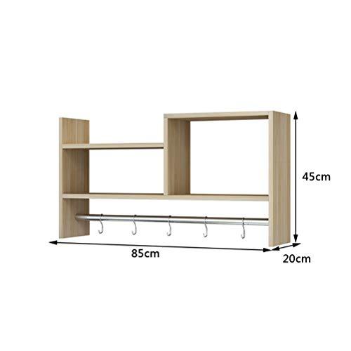 WLH- Creative wandrekken kapstok bovenkasten opknoping kasten slaapzaal hole-free boekenkast boekenkast (Color : Natural)