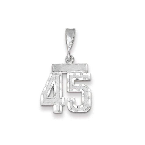 Saris and Things Oro Blanco 14k de Diamantes de Talla pequeña número 45 Charm