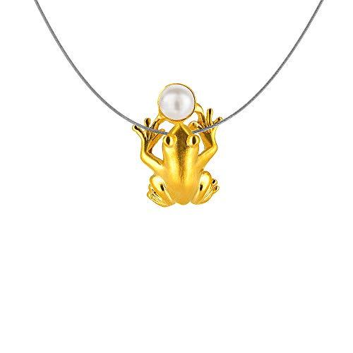 Diseño del drachenfelshotel Damen-colgante de rana de plata chapado en oro mate corte brillante perla agua dulce-perla cultivada blanco - D FR 64/AGR