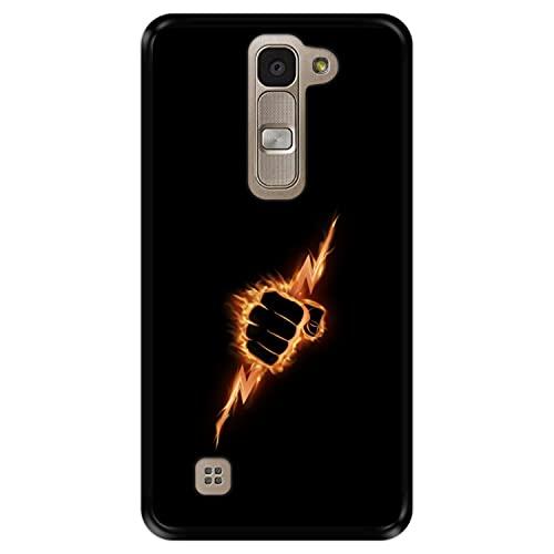 Hapdey Funda Negra para [ LG G4 Mini - G4c - Magna ] diseño [ Puño ardiente apretando un Rayo ] Carcasa Silicona Flexible TPU