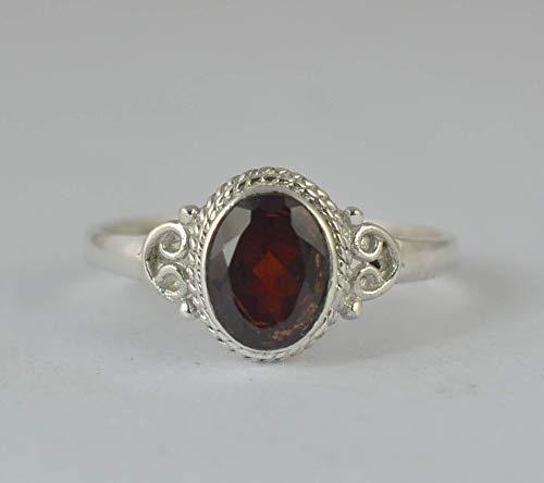 Granat Silber Ring 925 massiv Sterling Silber handgefertigte Schmuck Größe 14 bis 22 DE