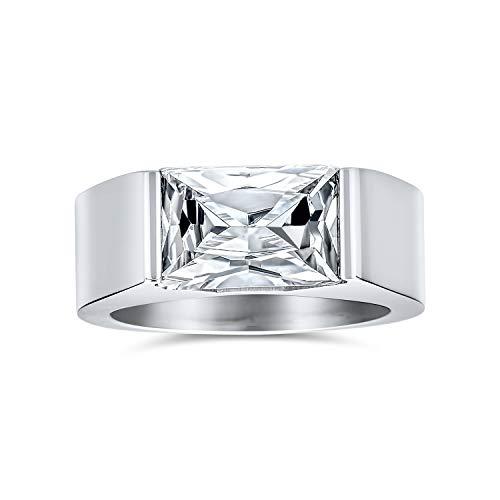 Bling Jewelry Geometric 4CT Rectángulo Claro ún Cubic Incoloro Zirconia Corte Esmeralda AAA CZ Anillo de Compromiso para Hombres Acero Inoxidable Tono Plata
