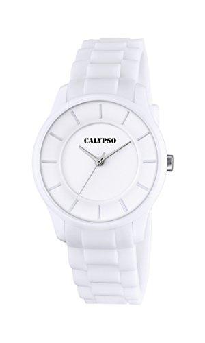 Calypso Reloj Unisex de Cuarzo con Blanco Esfera analógica Pantalla y Correa de plástico Color Blanco K5671/1