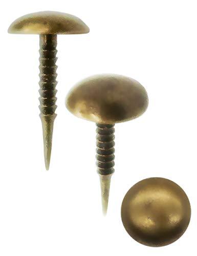 FUXXER® - 100x Antike Rund-Kopf Nägel, Reiß-Zwecken, Dekor-Nägel, Zier-Kopf-Nägel, Polster-Nägel, Möbel-Nägel, Vintage Messing Bronze Antik Optik, 15 x 8 mm, 100 Set
