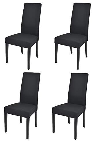 Tommychairs - Set 4 sillas Chiara para Cocina, Comedor, Bar y Restaurante, solida Estructura en Madera de Haya y Asiento tapizado en Tejido Color Negro