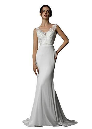 Women's Mermaid Lace Beach Bridal Dress Ivory Simple Long Formal Wedding Dress US4