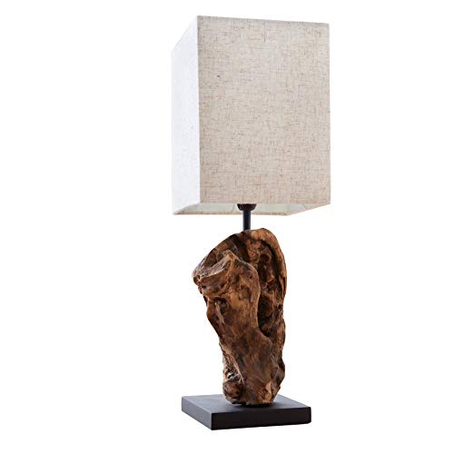 Invicta Interior Design Treibholz Lampe Hypnotic beige Leinenschirm Tischlampe in Handarbeit Tischleuchte Unikat