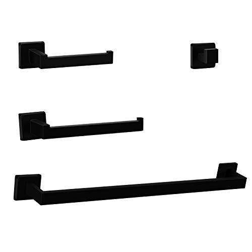 4-Pieces Bathroom Hardware Set Matte Black SUS304 Stainless Steel Square Style Wall Mounted Towel Rack Pack - Includes 14
