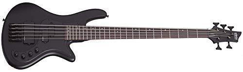 Shecter 2523 Stiletto Stealth-5 Black 5-String Bass Guitar Bundle w/Hardshell Ca