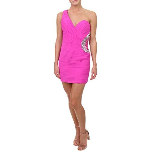 JVN by Jovani Womens Embellished One Shoulder Semi-Formal Dress Pink 00