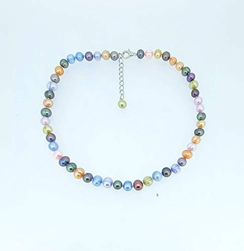 TreasureBay Multi Coloured Cultured Pearl Necklace 44cm with 6cm Chain Extender for Women and Girls
