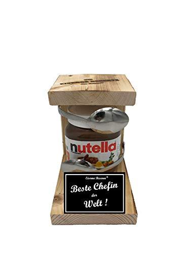 * Beste Chefin der Welt - Eiserne Reserve ® Löffel mit Nutella 450g Glas - Das ausgefallene originelle lustige Geschenk - Die Nutella - Geschenkidee
